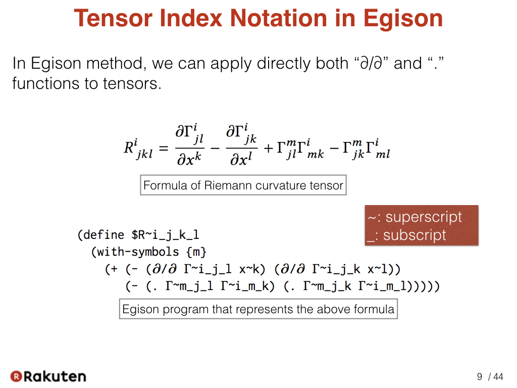 Egison blog scalar and tensor parameters for importing tensor this is a first sample of egison using tensor index notation the program below represent the above mathematical formula buycottarizona Images
